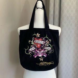 TOTE BAG WITH SKULL CHARM ZIPPER *NEW* ED HARDY BRONZE LADIES BAG